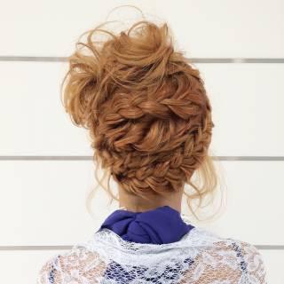 ヘアアレンジ 編み込み まとめ髪 三つ編み ヘアスタイルや髪型の写真・画像
