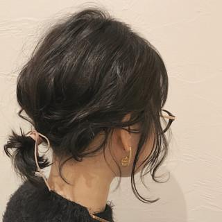 ヘアアレンジ ロブ ナチュラル デート ヘアスタイルや髪型の写真・画像