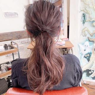 ロング 大人可愛い 簡単ヘアアレンジ ポニーテールアレンジ ヘアスタイルや髪型の写真・画像