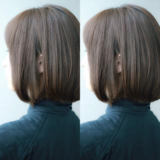 外国人風 ブラウン ボブ アッシュグレージュ ヘアスタイルや髪型の写真・画像