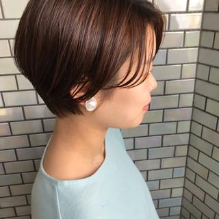 ショートヘア ショートボブ ナチュラル デート ヘアスタイルや髪型の写真・画像