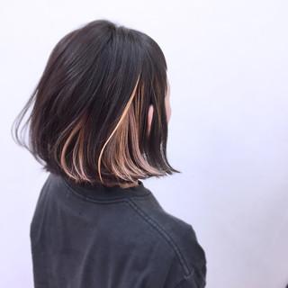 インナーカラー ストリート ボブ 外ハネ ヘアスタイルや髪型の写真・画像