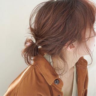 アプリコットオレンジ ミディアム オレンジベージュ ナチュラル ヘアスタイルや髪型の写真・画像