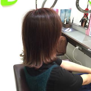 ミディアム 大人かわいい ピンク グラデーションカラー ヘアスタイルや髪型の写真・画像