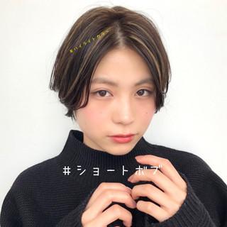 透明感カラー 大人かわいい ショート ハイライト ヘアスタイルや髪型の写真・画像