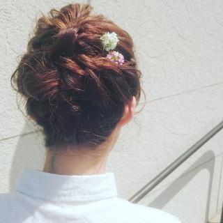 セミロング ヘアアレンジ 花 アップスタイル ヘアスタイルや髪型の写真・画像