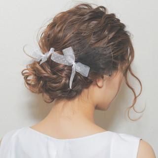 ゆるふわ セミロング ヘアアレンジ パーティ ヘアスタイルや髪型の写真・画像