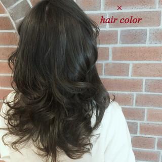 ブラウン 外国人風 セミロング グラデーションカラー ヘアスタイルや髪型の写真・画像