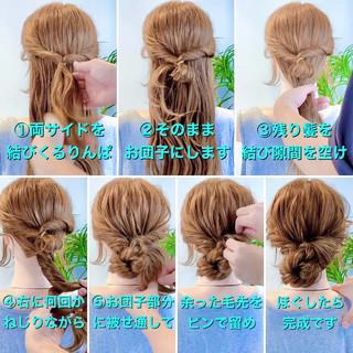 簡単ヘアアレンジ エレガント ヘアセット ロング ヘアスタイルや髪型の写真・画像