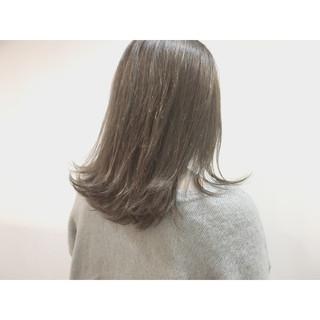 ロブ アッシュ ミディアム ナチュラル ヘアスタイルや髪型の写真・画像