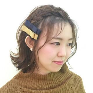 ボブ 編み込み 簡単ヘアアレンジ ショート ヘアスタイルや髪型の写真・画像