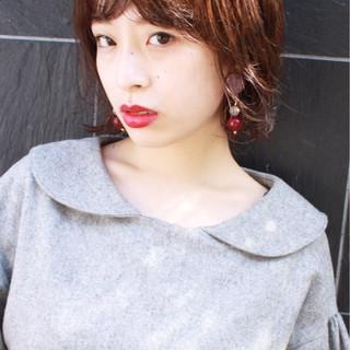 女子力 似合わせ 小顔 ショート ヘアスタイルや髪型の写真・画像