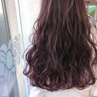 ベージュ ロング ピンク ガーリー ヘアスタイルや髪型の写真・画像