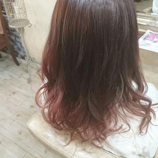 ゆるふわ ストリート グラデーションカラー ピンク ヘアスタイルや髪型の写真・画像