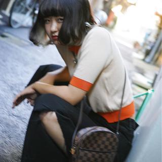 黒髪 リラックス ボブ ストリート ヘアスタイルや髪型の写真・画像 ヘアスタイルや髪型の写真・画像