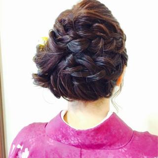 編み込み 簡単ヘアアレンジ 着物 袴 ヘアスタイルや髪型の写真・画像