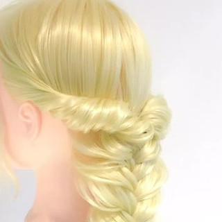 エレガント 上品 大人かわいい 編み込み ヘアスタイルや髪型の写真・画像