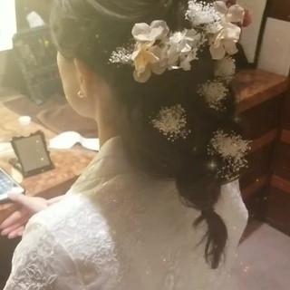 セミロング 結婚式 ヘアアレンジ エレガント ヘアスタイルや髪型の写真・画像 ヘアスタイルや髪型の写真・画像