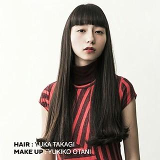黒髪 ワイドバング ロング ワンカール ヘアスタイルや髪型の写真・画像 ヘアスタイルや髪型の写真・画像