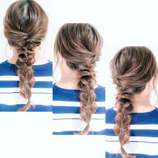 フェミニン 編みおろしヘア セルフアレンジ 編みおろし ヘアスタイルや髪型の写真・画像
