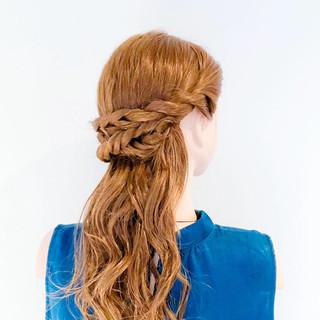くるりんぱ 簡単ヘアアレンジ フェミニン ヘアアレンジ ヘアスタイルや髪型の写真・画像