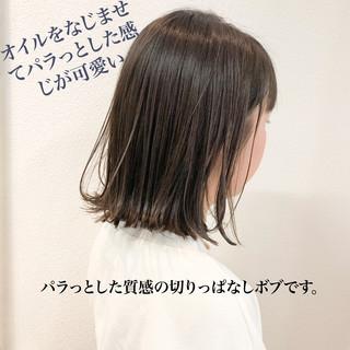 ベージュ 切りっぱなしボブ 福岡市 ボブ ヘアスタイルや髪型の写真・画像