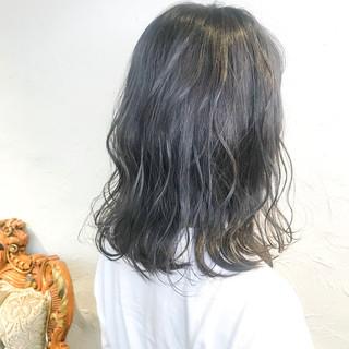 ボブ インナーブルー ナチュラル ターコイズブルー ヘアスタイルや髪型の写真・画像