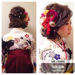 フェミニン 袴 着物 ゆるふわ ヘアスタイルや髪型の写真・画像