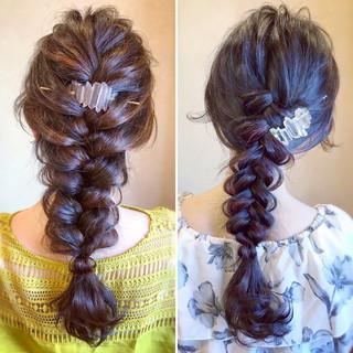 エレガント 編み込み ロング ヘアアレンジ ヘアスタイルや髪型の写真・画像 ヘアスタイルや髪型の写真・画像