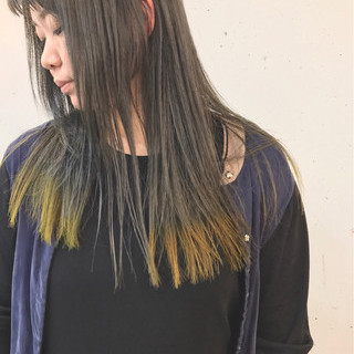 オレンジ グレージュ カラーバター イエロー ヘアスタイルや髪型の写真・画像