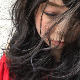 暗髪 パーマ 外国人風 ミディアム ヘアスタイルや髪型の写真・画像