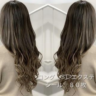 外国人風カラー ロング 3Dハイライト グラデーションカラー ヘアスタイルや髪型の写真・画像