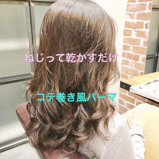 ナチュラル パーマ デート 簡単ヘアアレンジ ヘアスタイルや髪型の写真・画像