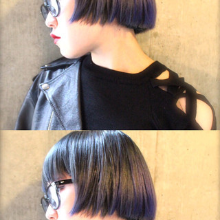 暗髪 グラデーションカラー ボブ アッシュ ヘアスタイルや髪型の写真・画像
