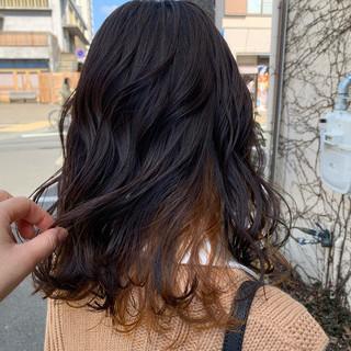 オレンジ アプリコットオレンジ ガーリー ミディアム ヘアスタイルや髪型の写真・画像