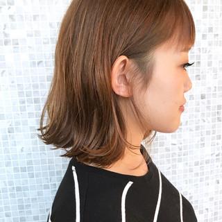 オレンジ 外ハネ ボブ ナチュラル ヘアスタイルや髪型の写真・画像