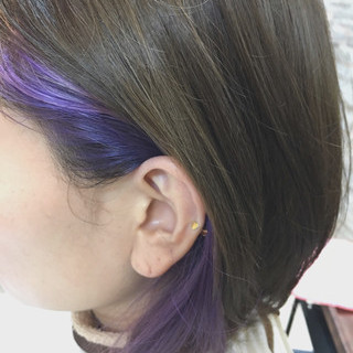 ブリーチ インナーカラー ボブ ダブルカラー ヘアスタイルや髪型の写真・画像