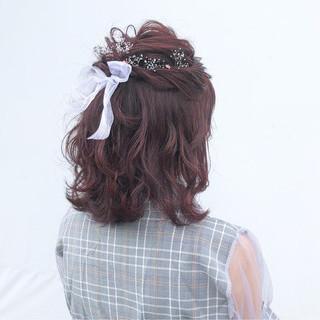 女子力 ミディアム ヘアアレンジ ガーリー ヘアスタイルや髪型の写真・画像