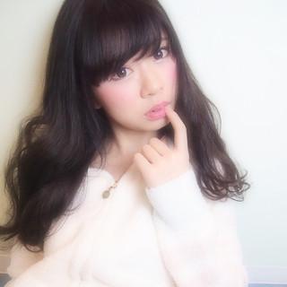 黒髪 ヘアアレンジ ガーリー レイヤーカット ヘアスタイルや髪型の写真・画像