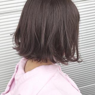 ラベンダーピンク ラベンダーアッシュ ボブ ナチュラル ヘアスタイルや髪型の写真・画像