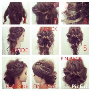 三つ編み 簡単ヘアアレンジ ストリート ショート ヘアスタイルや髪型の写真・画像