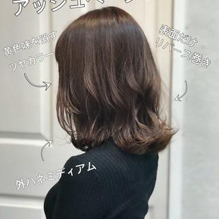 アッシュベージュ アッシュ セミディ ナチュラル ヘアスタイルや髪型の写真・画像