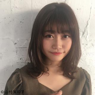 デジタルパーマ モテ髪 フェミニン ミディアム ヘアスタイルや髪型の写真・画像