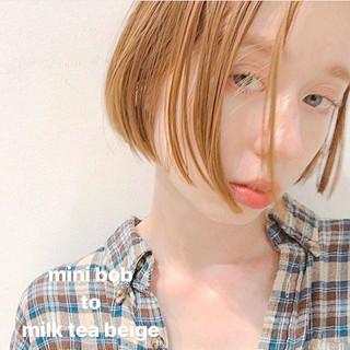 ナチュラル ミルクティーベージュ 簡単ヘアアレンジ ボブ ヘアスタイルや髪型の写真・画像