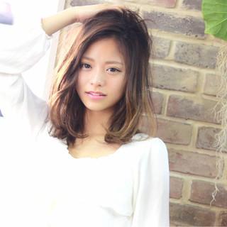 爽やか 外国人風 ミディアム 前髪あり ヘアスタイルや髪型の写真・画像