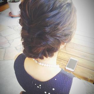 編み込み 結婚式 くるりんぱ ロング ヘアスタイルや髪型の写真・画像