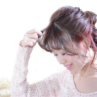 ガーリー フェミニン グレージュ ミディアム ヘアスタイルや髪型の写真・画像