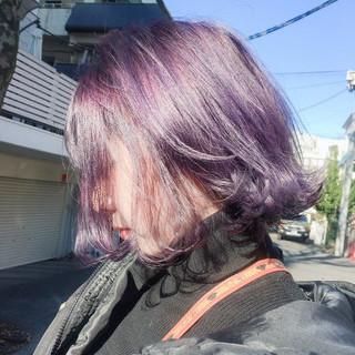 ハイトーンカラー お洒落 モード パープルカラー ヘアスタイルや髪型の写真・画像