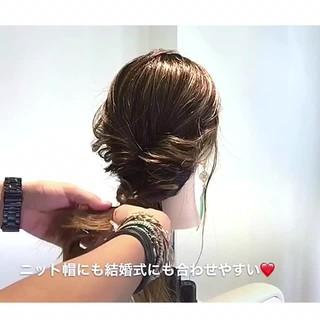 女子会 フェミニン セミロング ヘアアレンジ ヘアスタイルや髪型の写真・画像