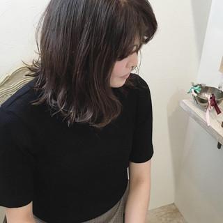 アッシュ 外ハネ ミディアム 女子力 ヘアスタイルや髪型の写真・画像